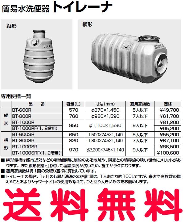 【送料無料】 【BT-1000RF】 INAX イナックス LIXIL・リクシル トイレ 簡易水洗便器 トイレーナ 専用便槽 縦形 (1、2階用) 950L φ1,100×1,590mm 家族数9人以下 【代引不可】