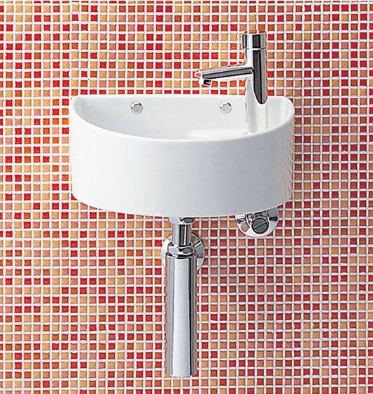 【手洗い器 一式セット】トイレ 手洗い器【AWL-33(S)-S】【床給水・床排水】INAX トイレ・店舗用【狭いスペースにもOK】狭小手洗タイプ(丸形) イナックス LIXIL・リクシル【手洗器と水栓金具・止水栓・排水金具・固定金具のセットです】