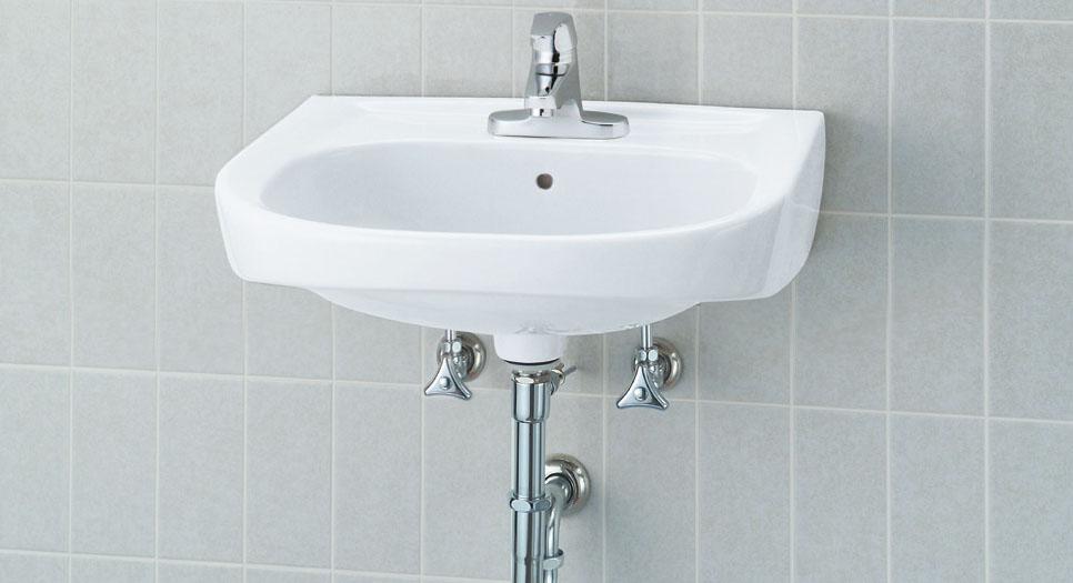 洗面手洗い (壁排水・壁給水) 幅560mm L-176UAPセットカラーBW1 (洗面ボウル+単水栓LF-E02+止水栓+排水金具+バックハンガー+取り付け木ネジの一式セットです) シングルレバー単水栓、ポップアップ栓付