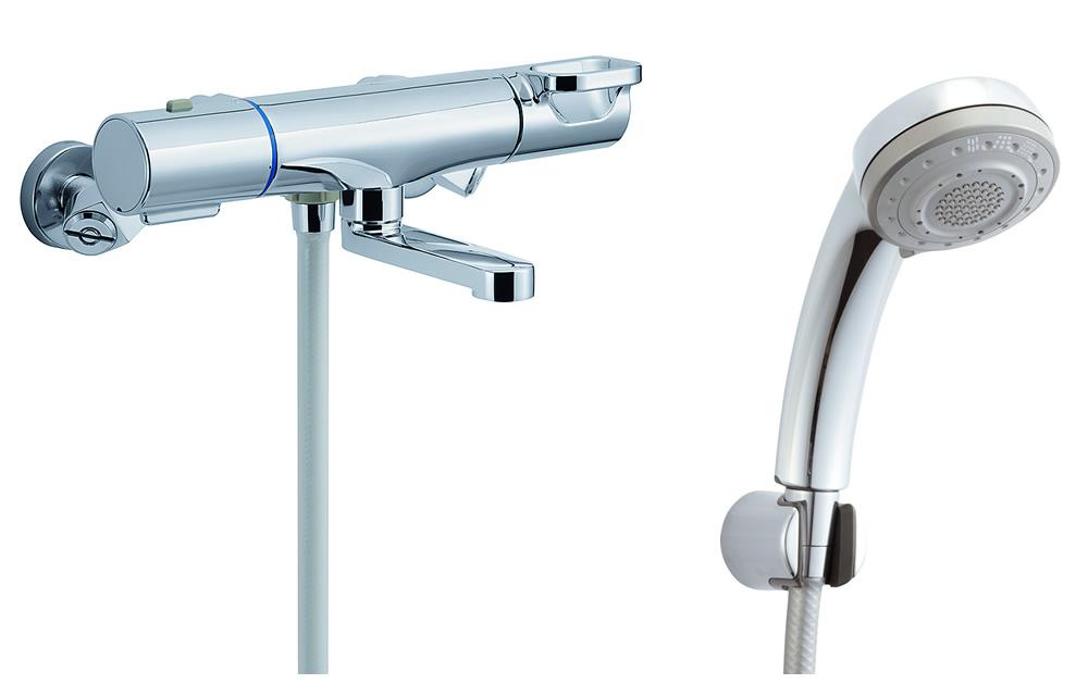 【BF-WM147TSB】 INAX・LIXIL 浴室用水栓金具 サーモスタット付シャワーバス水栓 洗い場専用 エコフル多機能シャワー クロマーレS 【BFWM147TSB】