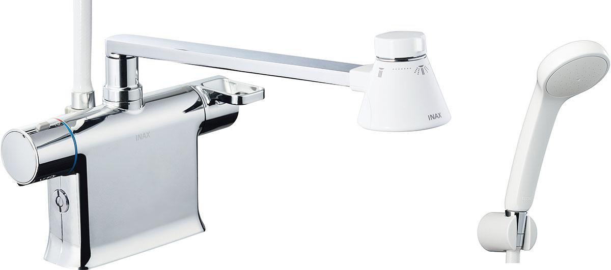 浴槽、カウンターデッキ面に取り付けるタイプ。フルカバー水栓。 INAX LIXIL 浴室水栓 BF-WM646TYNSG (330) シャワーバス水栓 デッキタイプ サーモスタット付シャワーバス水栓+エコフルスプレーシャワー 寒冷地対応商品 イナックス リクシル