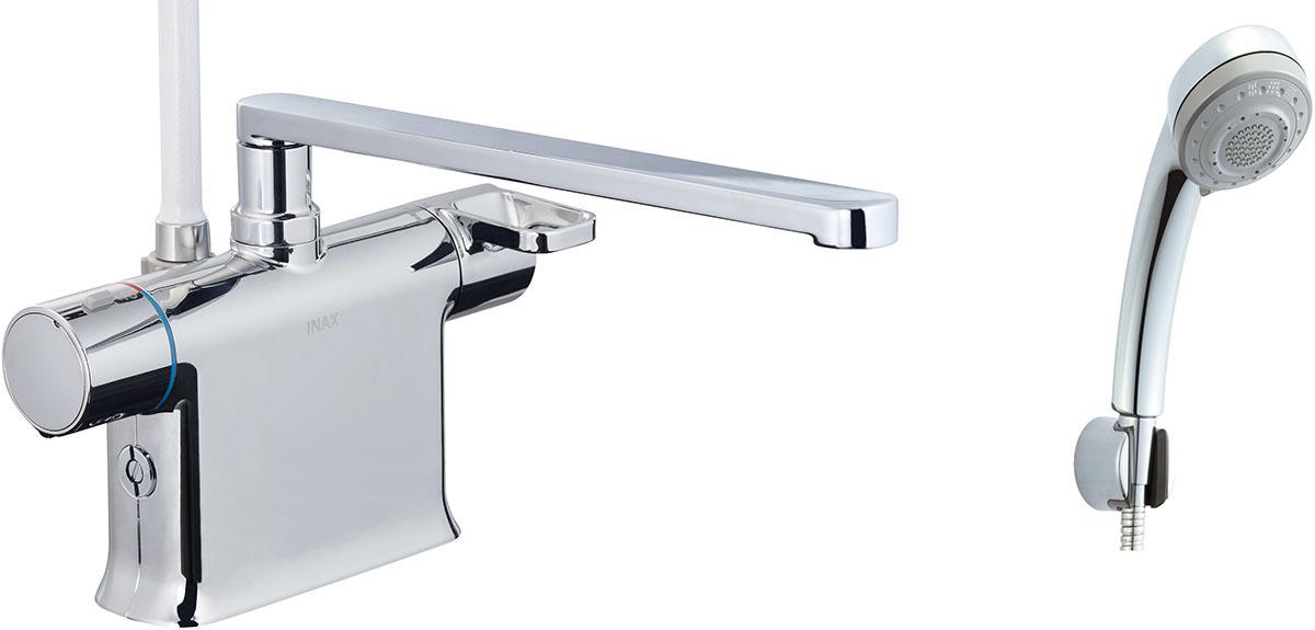 浴槽、カウンターデッキ面に取り付けるタイプ。フルカバー水栓。 INAX LIXIL 浴室水栓 BF-WM646TNSB (300) シャワーバス水栓 デッキタイプ サーモスタット付シャワーバス水栓+エコフル多機能シャワー 寒冷地対応商品 イナックス リクシル