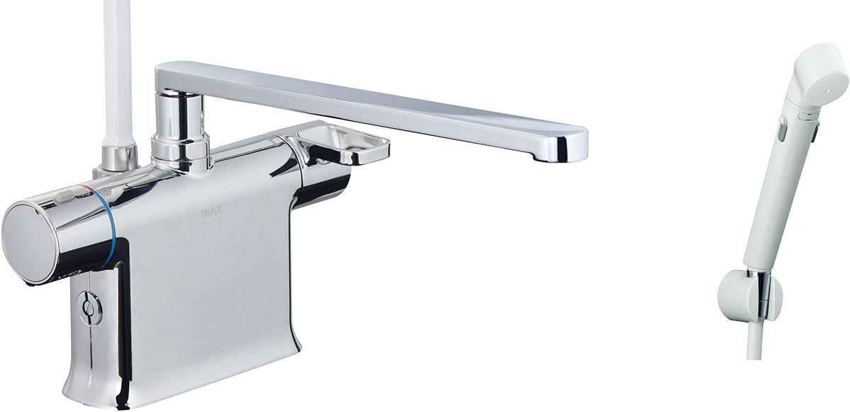 浴槽、カウンターデッキ面に取り付けるタイプ。フルカバー水栓。 INAX LIXIL 浴室水栓 BF-WM646TSDW (300) シャワーバス水栓 デッキタイプ サーモスタット付シャワーバス水栓+エコフルスイッチシャワー イナックス リクシル