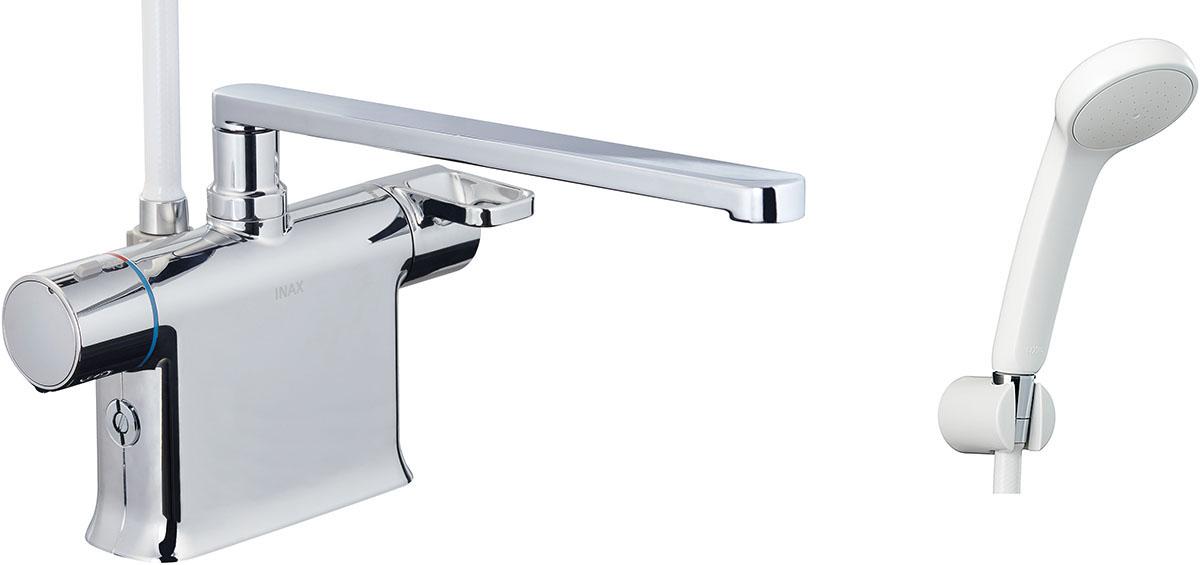 浴槽、カウンターデッキ面に取り付けるタイプ。フルカバー水栓。 INAX LIXIL 浴室水栓 BF-WM646TSG (300) シャワーバス水栓 デッキタイプ サーモスタット付シャワーバス水栓+エコフルスプレーシャワー イナックス リクシル
