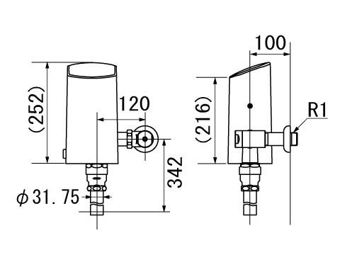 定流量弁 セパレート形 イナックス リクシル オートフラッシュC LIXIL INAX OKC-AT7110 自動フラッシュバルブ(壁給水形) 大便器自動洗浄システム