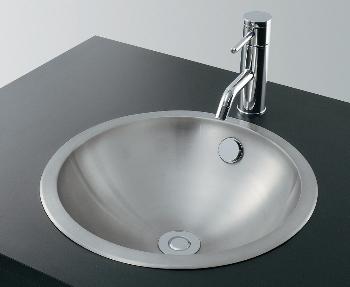 カクダイ ステンレス丸型洗面器//ヘアライン 【493-040】 水道材料