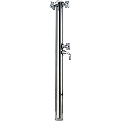 ステンレス双口混合栓柱 624-204 カクダイ 混合栓 水栓柱 庭用