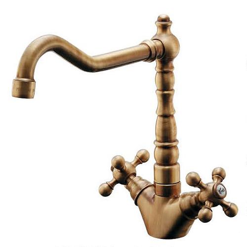 カクダイ 2ハンドル混合栓 オールドブラス 受注生産品 150-430-AB