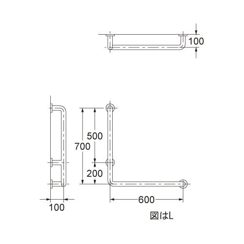 カクダイ 浴室・トイレ用 手すり 2415-1L-38