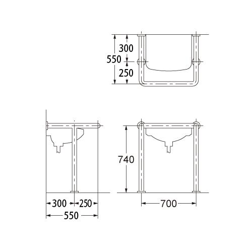 カクダイ 洗面器・手洗器用 手すり 2460-34