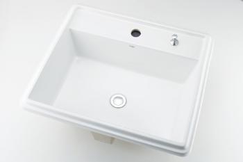 カクダイ 角型洗面器//1ホール・ポップアップ独立つまみタイプ【493-151H】[新品]