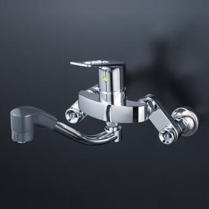 【KM5000TFHAEC】KVK ケーブイケー 楽締めソケット付シングルレバー式シャワー付混合栓(Eレバー)