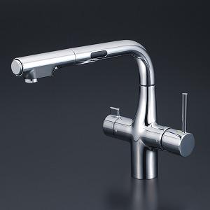 【KM6131SCEC】KVK ケーブイケー 浄水器付シングルレバー式シャワー付混合栓(Eレバー・センサー付)