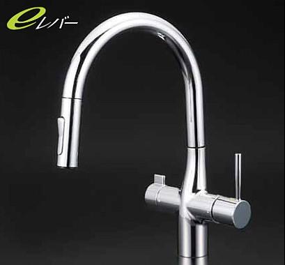 KVK キッチン KM6081EC 浄水器専用グースネックシングルレバー式混合栓 (eレバー)