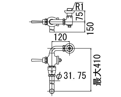 LIXIL リクシル 【CF-11UT】 シリーズ名: シリーズ外 品名: 低圧用フラッシュバルブ