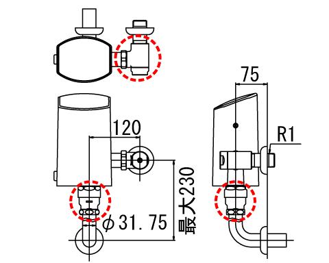 LIXIL リクシル 【OKC-510KU】 シリーズ名: オートフラッシュC 品名: オートフラッシュC セパレート形 自動フラッシュバルブ(壁給水形)