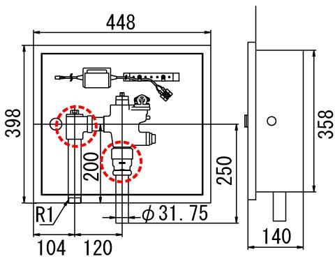 LIXIL リクシル 【OKC-581U】 シリーズ名: オートフラッシュC 品名: オートフラッシュC セパレート形 自動フラッシュバルブ(ボックス付・埋込形)