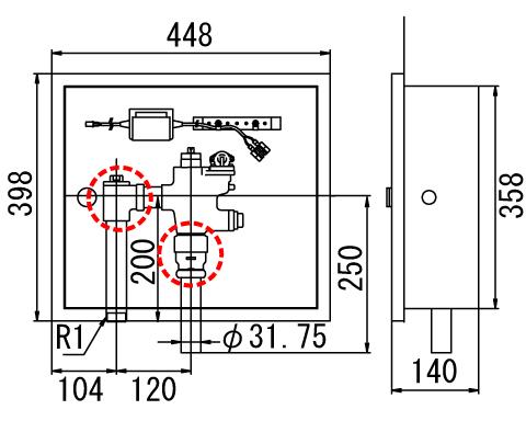 LIXIL リクシル 【OKC-681U】 シリーズ名: オートフラッシュC 品名: オートフラッシュC セパレート形 自動フラッシュバルブ(ボックス付・埋込形)