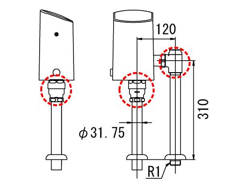LIXIL リクシル 【OKC-T610】 シリーズ名: オートフラッシュC 品名: オートフラッシュC セパレート形 自動フラッシュバルブ(床給水形)