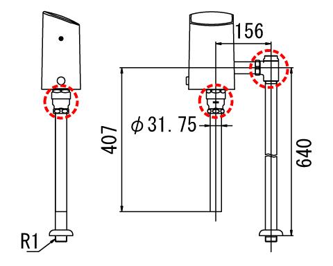 LIXIL リクシル 【OKC-T6114A】 シリーズ名: オートフラッシュC 品名: オートフラッシュC セパレート形 自動フラッシュバルブ(床給水形)