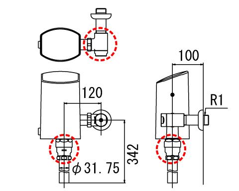 LIXIL リクシル 【OKC-T7110-C】 シリーズ名: オートフラッシュC 品名: オートフラッシュC セパレート形 自動フラッシュバルブ(壁給水形)(中水用)