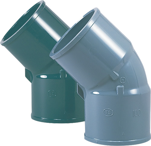 上水道関連製品>TS継手/HI継手>HI継手 HI45゜エルボ HI45TL125 Mコード:13117 (前澤化成工業、積水、東栄管機 他)配管部品,管材