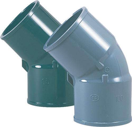 上水道関連製品>TS継手/HI継手>HI継手 HI45゜エルボ HI45TL200 Mコード:13119 (前澤化成工業、積水、東栄管機 他)配管部品,管材