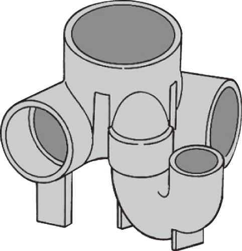 下水道関連製品 ビニマス M 100-150シリーズ 90度曲り/トラップ付 (UT-L) M-UT-L右100X50P-150 Mコード:40503 前澤化成工業