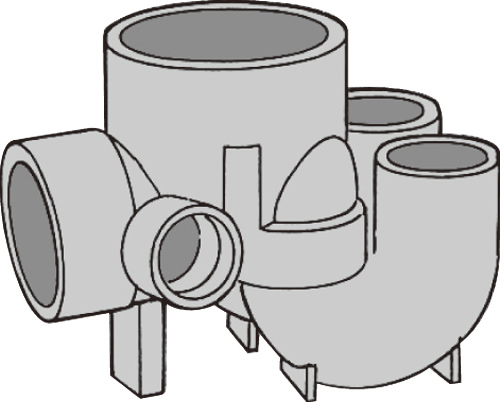 下水道関連製品 ビニマス MX 100-150シリーズ 起点2本トラップ (MX-UTKW MX-UTKW100X75P-150 Mコード:40642 前澤化成工業