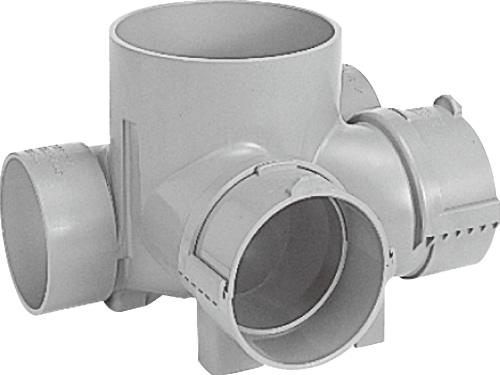 下水道関連製品>ビニマス>MA 100-150シリーズ 平行/90度合流段差付(H-YS) MA-HYS左125X100-150 Mコード:41343 前澤化成工業