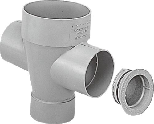 下水道関連製品>ビニマス>M 125-200シリーズ 左右合流ドロップC付(DRW) MC-DRW125-200 Mコード:41491 前澤化成工業