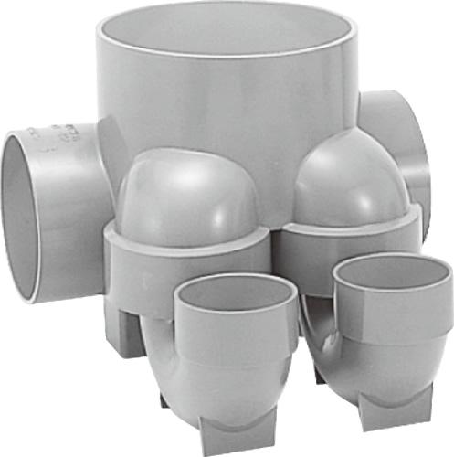 下水道関連製品>ビニマス>MX 125-200シリーズ 2本トラップ(MX-UTW) MX-UTW右125X75S-200 Mコード:41495 前澤化成工業