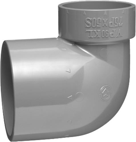 (20個入り) 下水道関連製品>排水特殊継手>VP排水特殊継手 VP90度片受異径エルボ VP90KL75PX50S Mコード:71321 (前澤化成工業、積水、東栄管機 他)配管部品,管材
