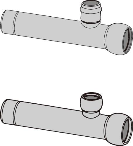 下水道関連製品>下水道継手>枝付管 自在ゴム輪受口枝付管 TR-F TR150F-100FX1000L Mコード:75401 (前澤化成工業、積水、東栄管機 他)配管部品,管材