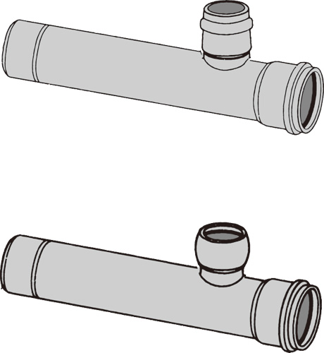 下水道関連製品 下水道継手 枝付管 ゴム輪受口枝付管 TR-R TR250R-125RX1000L Mコード:75417 (前澤化成工業、積水、東栄管機 他) 配管部品,管材