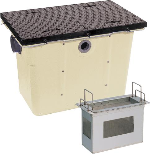 環境機器関連製品>グリーストラップ>FRP製プラスタートラップ パイプ流入埋設型 PTZS PTZS-200鉄蓋付 Mコード:81308 前澤化成工業