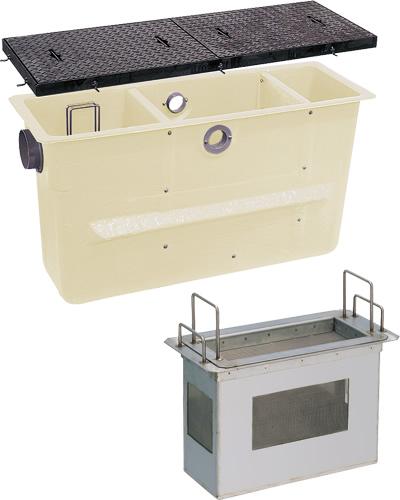 環境機器関連製品>グリーストラップ>FRP製プラスタートラップ パイプ流入埋設スリム型 PTZC PTZC-200鉄蓋付 Mコード:81309 前澤化成工業
