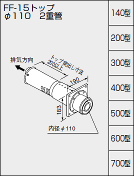 【0794101】ノーリツ 給湯器 関連部材 給排気トップ(2重管方式及び2本管方式) FF-15トップ φ110 2重管 140型