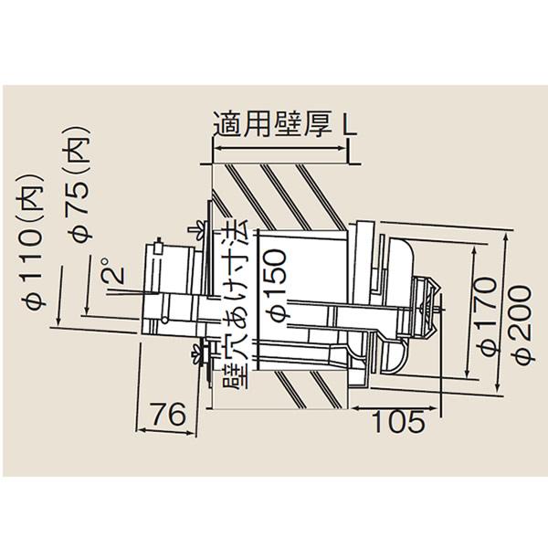 リンナイ φ110×φ75給排気部材 FF 2重管用【TFW-110-75C-400】給排気トップ(21-3829)【TFW11075C400】 給湯器