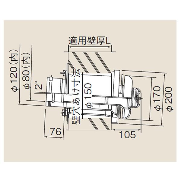 リンナイ φ120×φ80給排気部材 FF 2重管用 TFW-120-80C-400C-K 寒冷地向給排気トップ (21-9339) TFW12080C400CK 給湯器