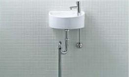 手洗い器 一式セット AWL-33 (S) 壁給水 床排水 INAX イナックス LIXIL リクシル トイレ用狭小手洗シリーズ 手洗タイプ (丸形)