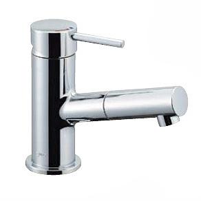 LF-E345SYCN LIXIL・INAX 洗面器・手洗器用水栓金具 eモダン(エコハンドル) 吐水口引出式シングルレバー混合水栓 排水栓なし 寒冷地対応 逆止弁