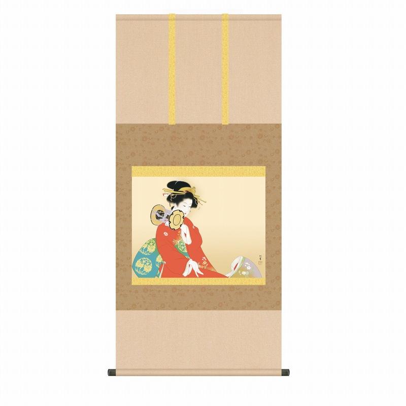 ● 上村松園『鼓の音(尺五横)』版画+手彩色 SAK-KZ2G9-023 掛軸 掛け軸 人物 新品 表装済 桐箱収納 尺五横 掛軸:掛け軸 日本画 絵画 複製 松園 人物画 美人画 女流 女性