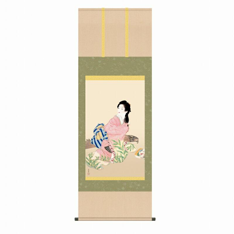● 上村松園『娘深雪(尺五立)』版画+手彩色 SAK-KZ2G9-022 掛軸 掛け軸 人物 新品 表装済 桐箱収納 尺五立 掛軸:掛け軸 日本画 絵画 複製 松園 人物画 美人画 女流 女性 琴