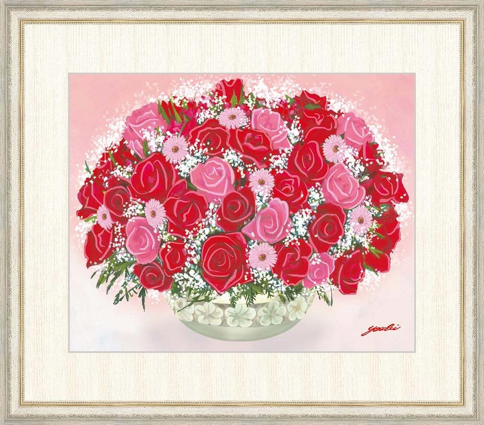 2020年新作 洋美 「可憐な赤いブーケ」 F8号(額外寸64x56cm) 高精彩工芸画+手彩入り 額付き 複製画 静物画 風水画 吉祥開運 赤とピンクの薔薇 全体運アップ, バッグと靴のエルシエ(ElleSie) ecfa0a04
