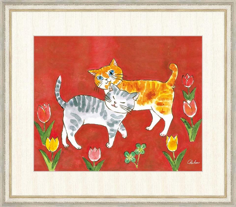 『3年保証』 千春 「愛情のねこ」 F8号(額外寸64x56cm) 高精彩工芸画+手彩入り 額付き 複製画 動物画 吉祥開運 赤の背景 二匹の仲良し猫, アイコンズ スーパーストア 0bac3cff