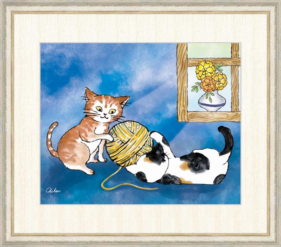 買取り実績  千春 「健やかなねこ」 F8号(額外寸64x56cm) 高精彩工芸画+手彩入り 額付き 複製画 動物画 吉祥開運 ブルーの背景 二匹の仲良し猫, 岐阜県関市 0454c403