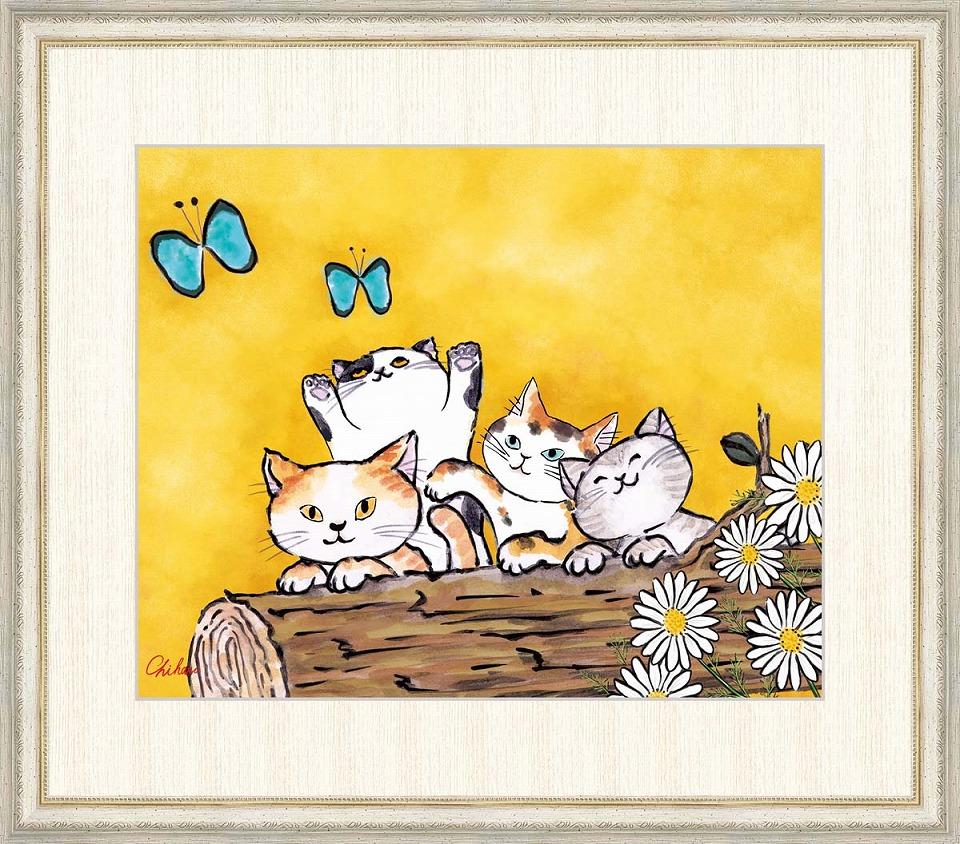 【国内正規品】 千春 「幸福のねこ」 F8号(額外寸64x56cm) 高精彩工芸画+手彩入り 額付き 複製画 動物画 吉祥開運 黄色の背景 四匹の仲良し猫, メンズファッション アンライズ 97760994