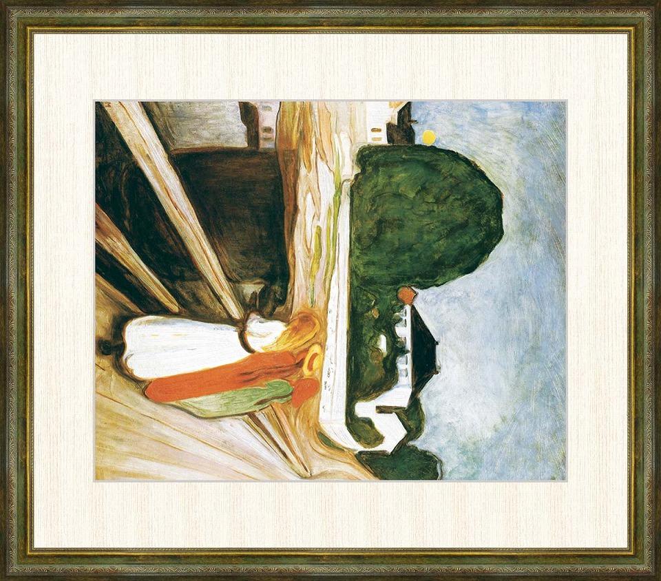 【安心発送】 ムンク 「桟橋の上の女たち」 F8号(額外寸64x56cm) 高精彩工芸画+手彩入り 額付き 複製画 近代美術 表現主義 ノルウェーの画家 橋の上の女の子, アースマーケット 61f6d1b5