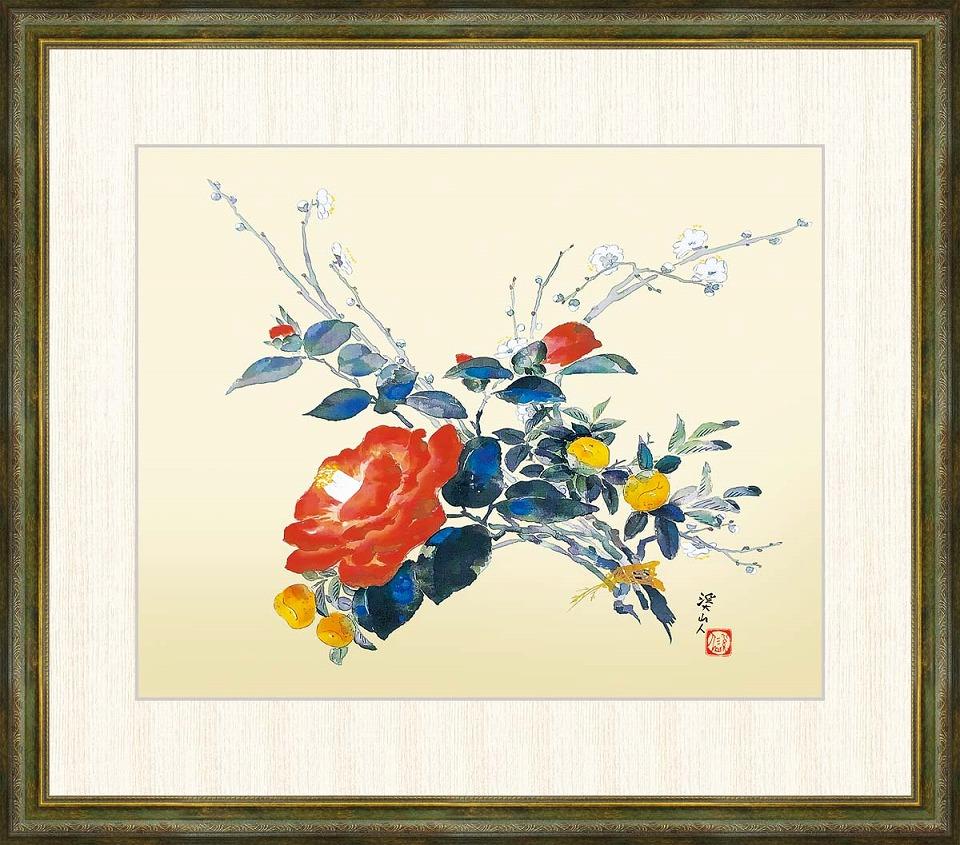魅力的な価格 冨田溪仙 「歳寒三雅」 F8号(額外寸64x56cm) 高精彩工芸画+手彩入り 額付き 複製画, the CORNER 18248e84